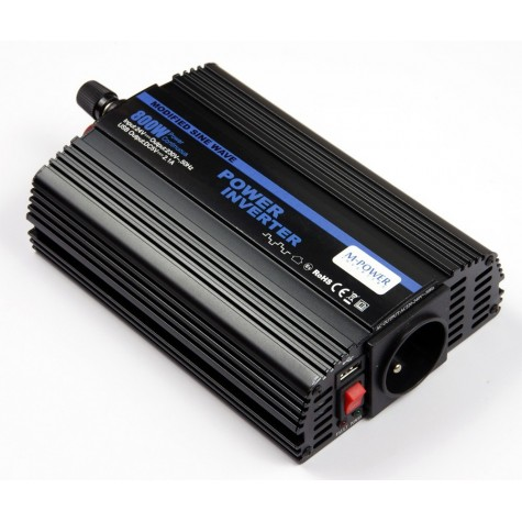 Przetwornica napięcia prądu 800W/1600W 12V-230V z USB (M-POWER)