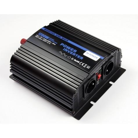 Przetwornica napięcia prądu 1200W/2400W 12V-230V z USB (M-POWER)